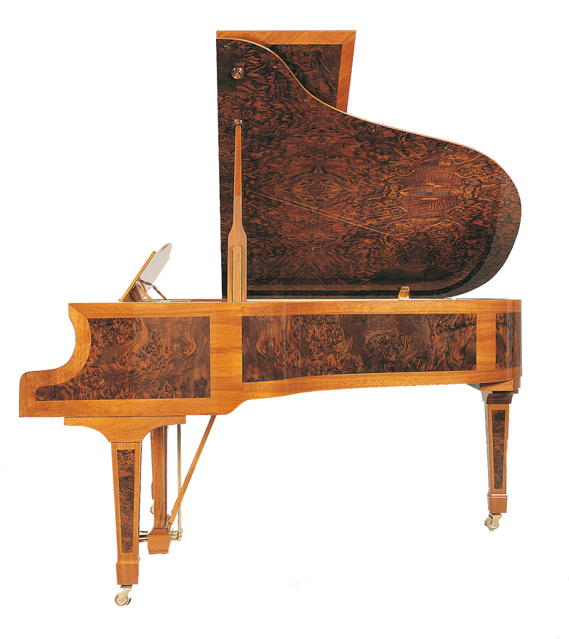 Haessler H 186 Burl Inlay Side Upright Piano